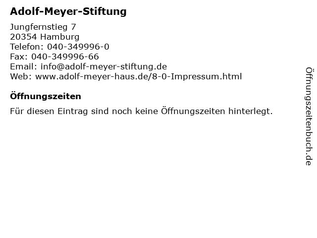 Adolf-Meyer-Stiftung in Hamburg: Adresse und Öffnungszeiten