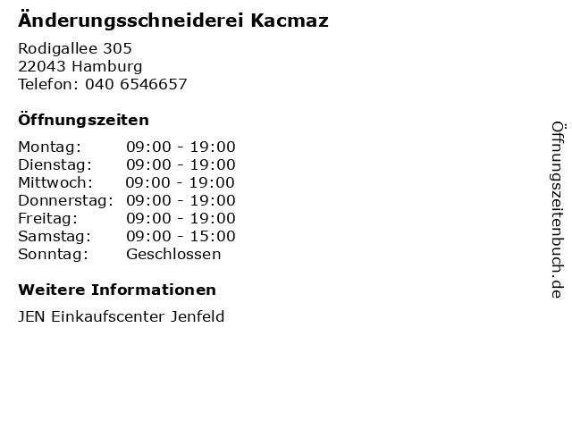 Änderungsschneiderei Kacmaz in Hamburg: Adresse und Öffnungszeiten
