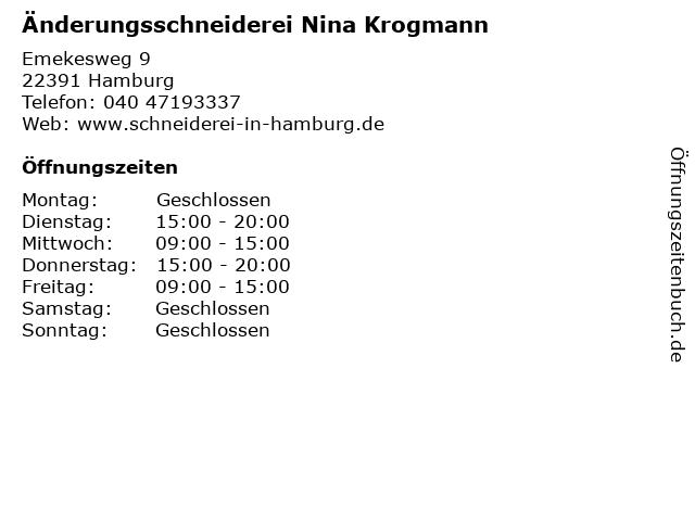Änderungsschneiderei Nina Krogmann in Hamburg: Adresse und Öffnungszeiten