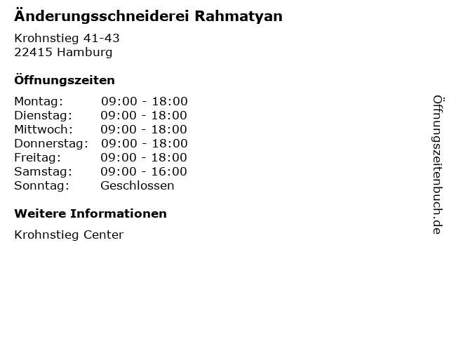 Änderungsschneiderei Rahmatyan in Hamburg: Adresse und Öffnungszeiten