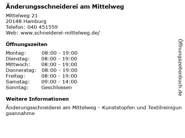 Änderungsschneiderei am Mittelweg in Hamburg: Adresse und Öffnungszeiten