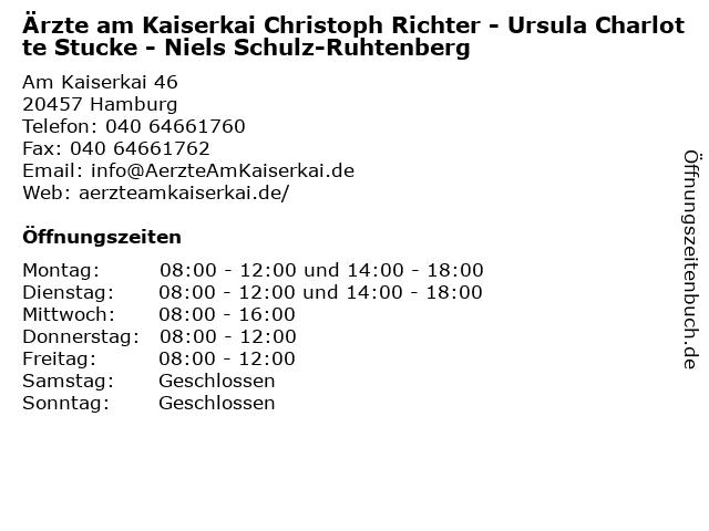 Ärzte am Kaiserkai Christoph Richter - Ursula Charlotte Stucke - Niels Schulz-Ruhtenberg in Hamburg: Adresse und Öffnungszeiten