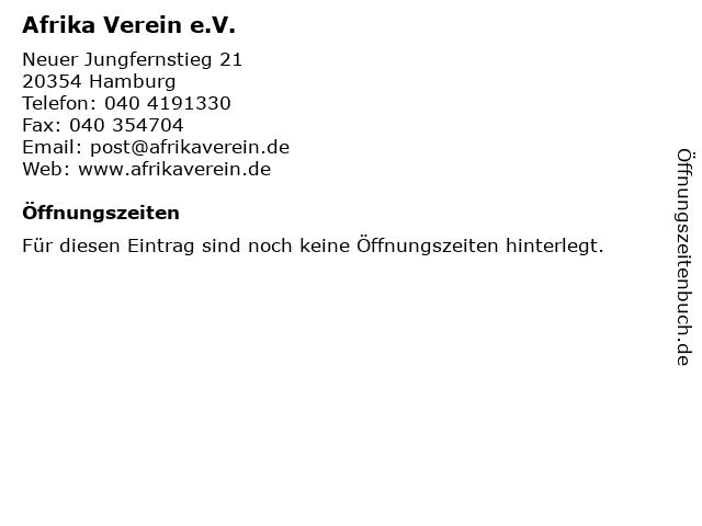 Afrika Verein e.V. in Hamburg: Adresse und Öffnungszeiten