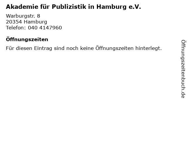 Akademie für Publizistik in Hamburg e.V. in Hamburg: Adresse und Öffnungszeiten