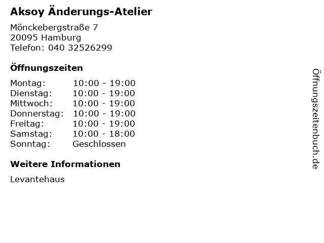Aksoy Änderungs-Atelier in Hamburg: Adresse und Öffnungszeiten