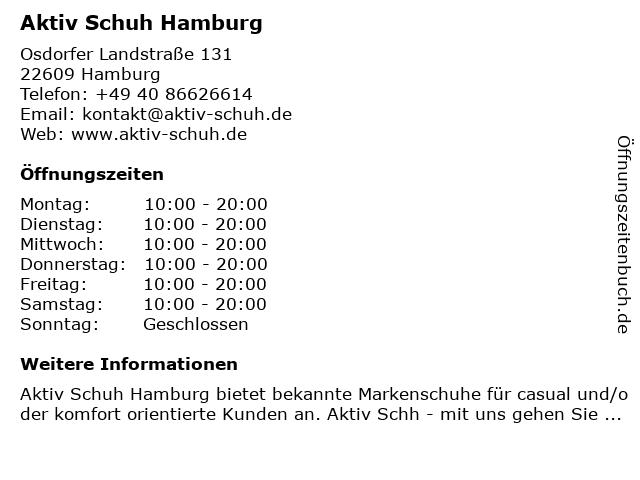 Aktiv Schuh Hamburg in Hamburg: Adresse und Öffnungszeiten