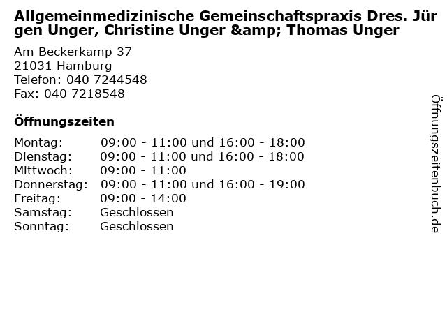 Allgemeinmedizinische Gemeinschaftspraxis Dres. Jürgen Unger, Christine Unger & Thomas Unger in Hamburg: Adresse und Öffnungszeiten