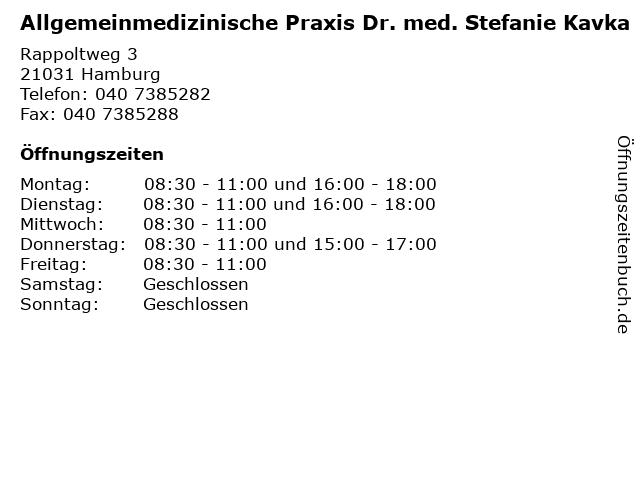 Allgemeinmedizinische Praxis Dr. med. Stefanie Kavka in Hamburg: Adresse und Öffnungszeiten