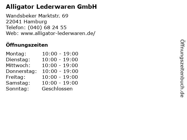 Alligator Lederwaren GmbH in Hamburg: Adresse und Öffnungszeiten