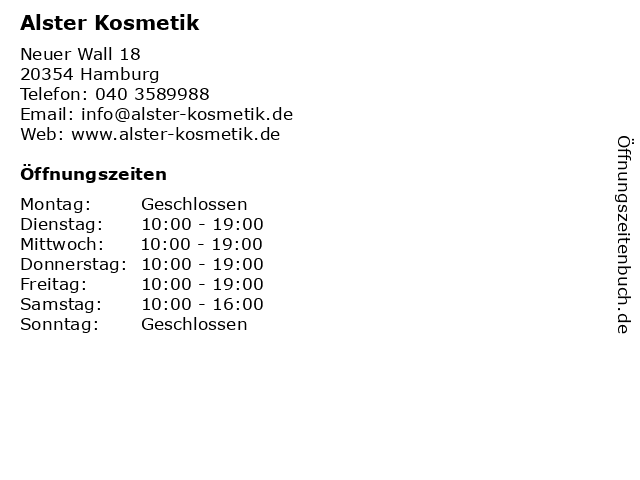 Alster Kosmetik in Hamburg: Adresse und Öffnungszeiten