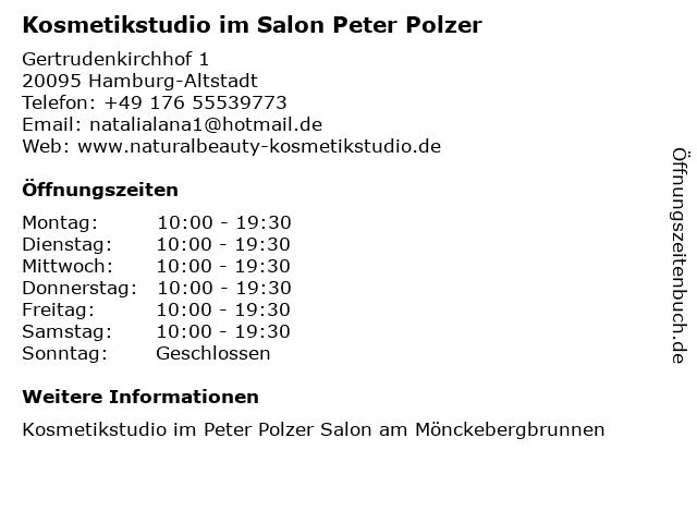 Kosmetikstudio im Salon Peter Polzer in Hamburg-Altstadt: Adresse und Öffnungszeiten