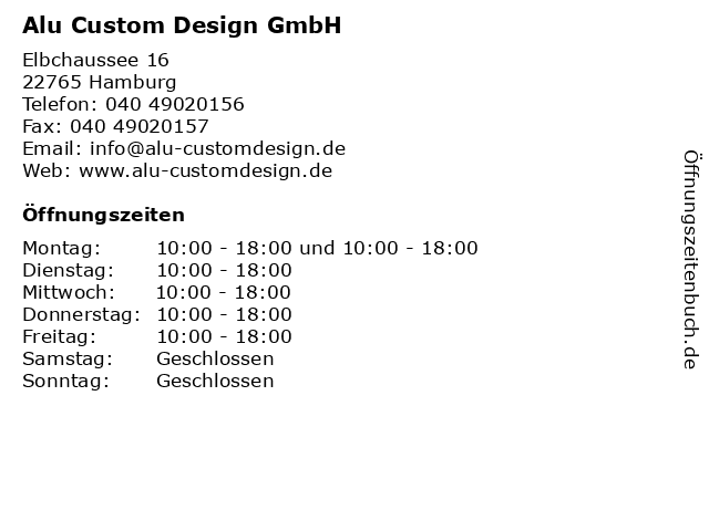 Alu Custom Design GmbH in Hamburg: Adresse und Öffnungszeiten