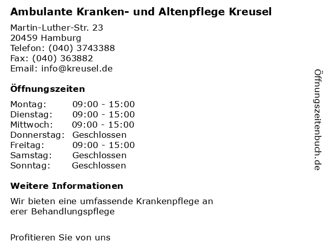 Ambulante Kranken- und Altenpflege Kreusel in Hamburg: Adresse und Öffnungszeiten