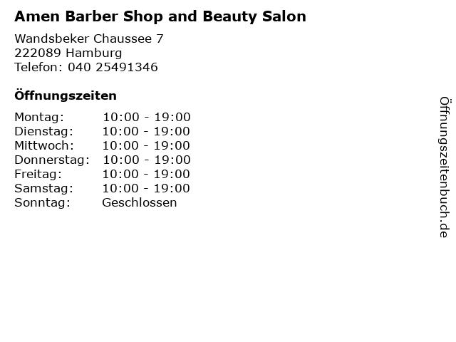 Amen Barber Shop and Beauty Salon in Hamburg: Adresse und Öffnungszeiten