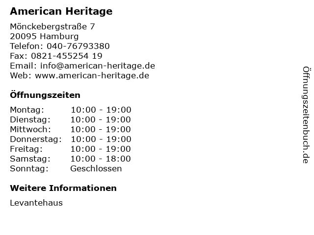 American Heritage in Hamburg: Adresse und Öffnungszeiten