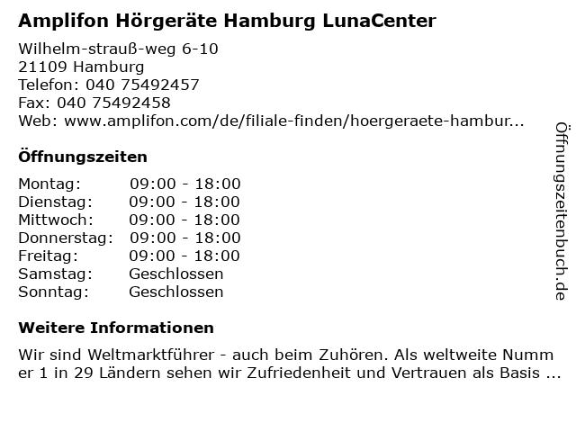 Amplifon Hörgeräte Hamburg LunaCenter in Hamburg: Adresse und Öffnungszeiten