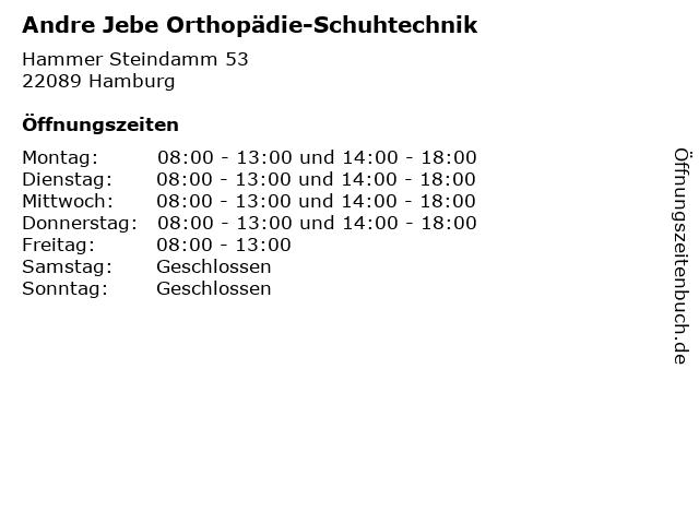 Andre Jebe Orthopädie-Schuhtechnik in Hamburg: Adresse und Öffnungszeiten