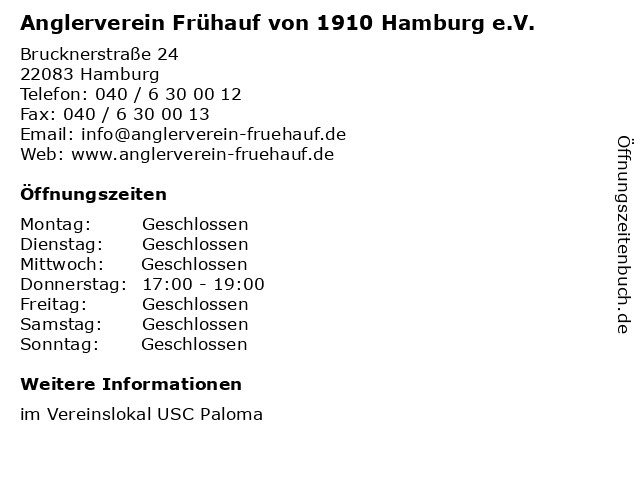 Anglerverein Frühauf von 1910 Hamburg e.V. in Hamburg: Adresse und Öffnungszeiten
