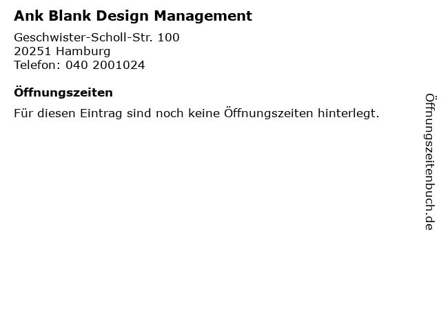 Ank Blank Design Management in Hamburg: Adresse und Öffnungszeiten