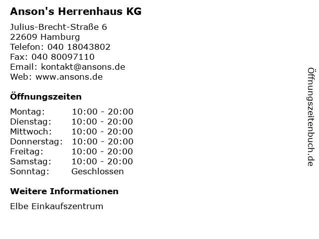 Anson's Herrenhaus KG in Hamburg: Adresse und Öffnungszeiten