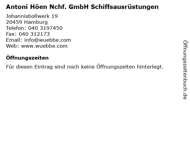 Antoni Höen Nchf. GmbH Schiffsausrüstungen in Hamburg: Adresse und Öffnungszeiten