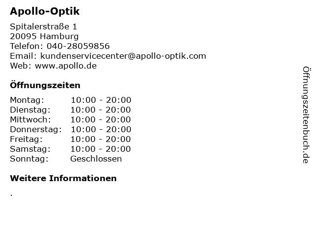 Apollo-Optik in Hamburg: Adresse und Öffnungszeiten