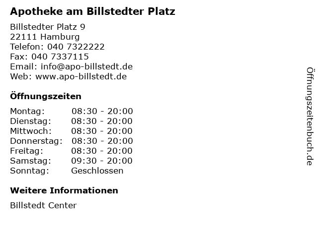 Apotheke am Billstedter Platz in Hamburg: Adresse und Öffnungszeiten