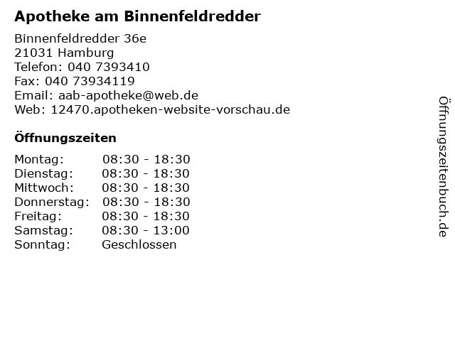 Apotheke am Binnenfeldredder in Hamburg: Adresse und Öffnungszeiten