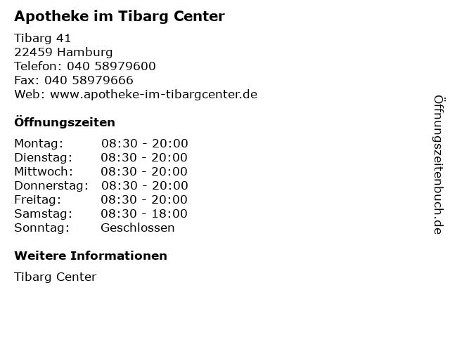 Apotheke im Tibarg Center in Hamburg: Adresse und Öffnungszeiten