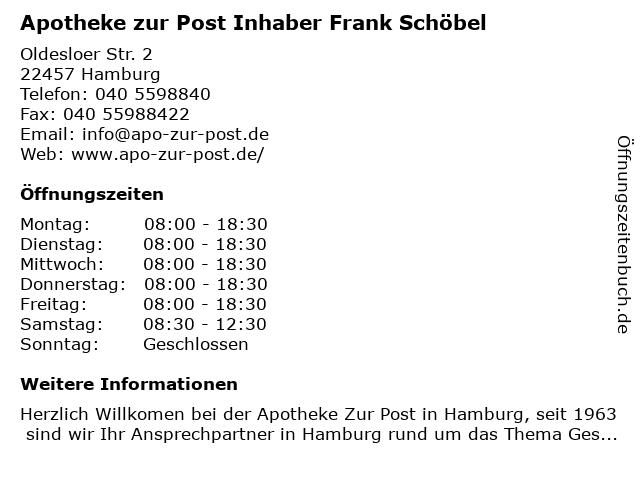 Apotheke zur Post in Hamburg: Adresse und Öffnungszeiten