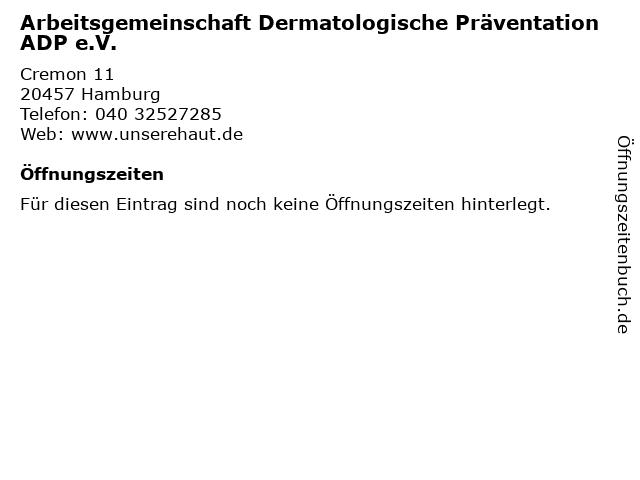 Arbeitsgemeinschaft Dermatologische Präventation ADP e.V. in Hamburg: Adresse und Öffnungszeiten