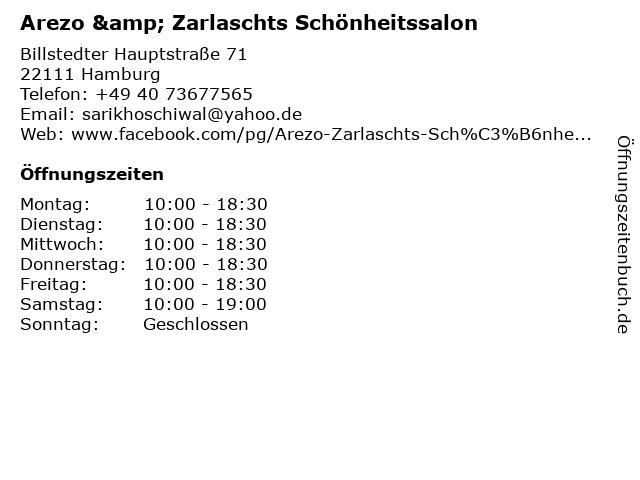 Arezo & Zarlaschts Schönheitssalon in Hamburg: Adresse und Öffnungszeiten