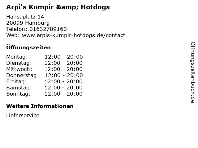 Arpi's Kumpir & Hotdogs in Hamburg: Adresse und Öffnungszeiten