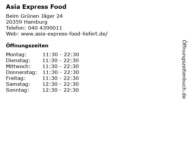 Asia Express Food in Hamburg: Adresse und Öffnungszeiten