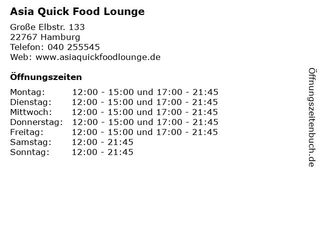 Asia Quick Food Lounge in Hamburg: Adresse und Öffnungszeiten