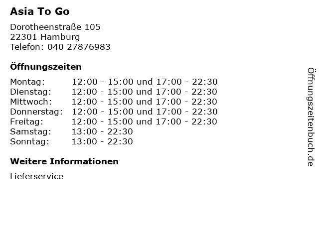 Asia To Go in Hamburg: Adresse und Öffnungszeiten