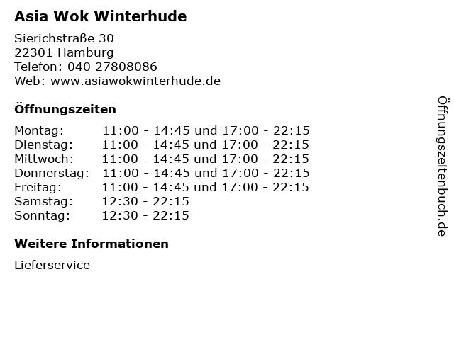 Asia Wok Winterhude in Hamburg: Adresse und Öffnungszeiten