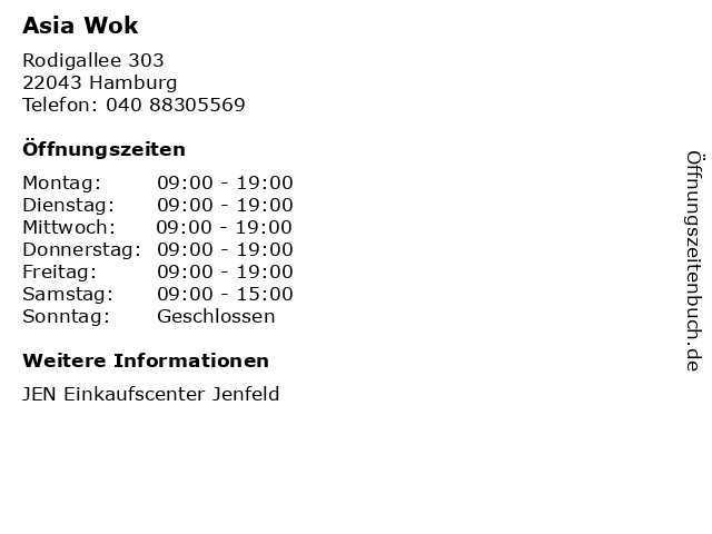 Asia Wok in Hamburg: Adresse und Öffnungszeiten