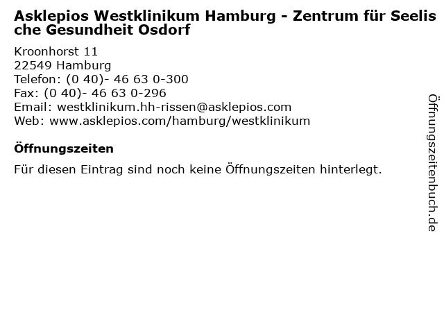 Asklepios Westklinikum Hamburg - Zentrum für Seelische Gesundheit Osdorf in Hamburg: Adresse und Öffnungszeiten