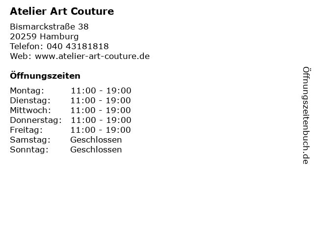 Atelier Art Couture in Hamburg: Adresse und Öffnungszeiten