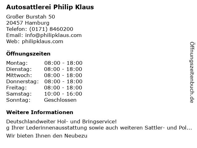 Philip Klaus Autosattlerei und Großhandel in Hamburg: Adresse und Öffnungszeiten