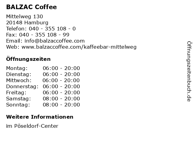 BALZAC Coffee in Hamburg: Adresse und Öffnungszeiten