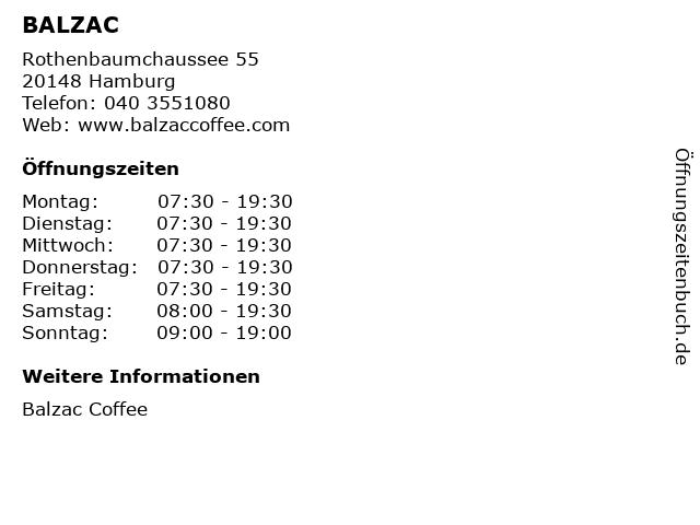 BALZAC in Hamburg: Adresse und Öffnungszeiten