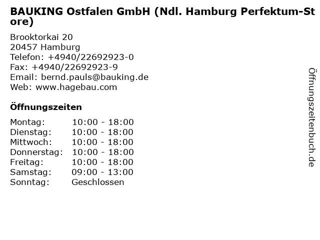 BAUKING Ostfalen GmbH (Ndl. Hamburg Perfektum-Store) in Hamburg: Adresse und Öffnungszeiten