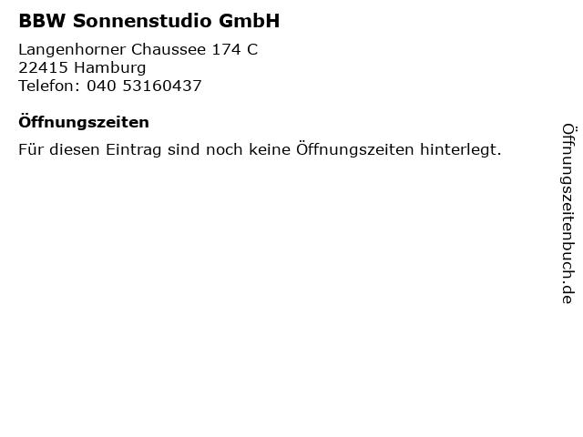 BBW Sonnenstudio GmbH in Hamburg: Adresse und Öffnungszeiten