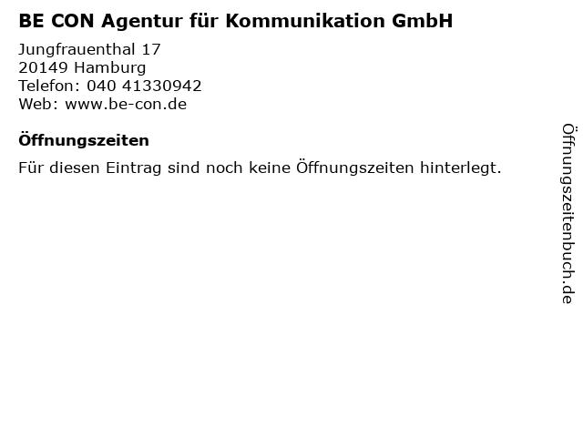 BE CON Agentur für Kommunikation GmbH in Hamburg: Adresse und Öffnungszeiten