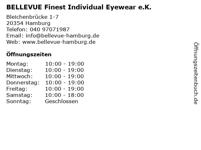 BELLEVUE Finest Individual Eyewear e.K. in Hamburg: Adresse und Öffnungszeiten