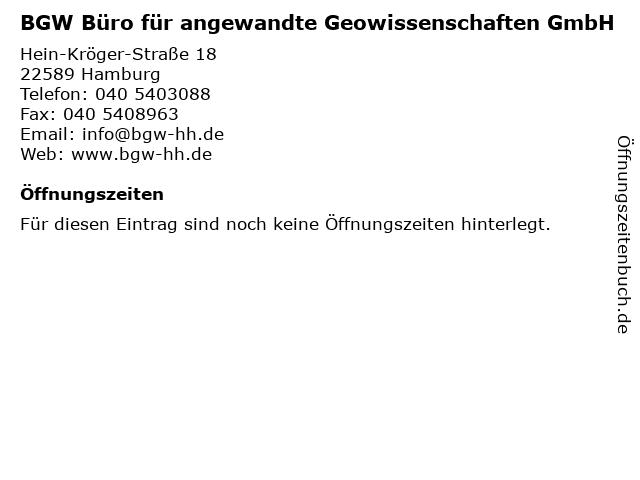 BGW Büro für angewandte Geowissenschaften GmbH in Hamburg: Adresse und Öffnungszeiten