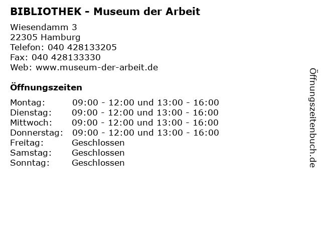 BIBLIOTHEK - Museum der Arbeit in Hamburg: Adresse und Öffnungszeiten