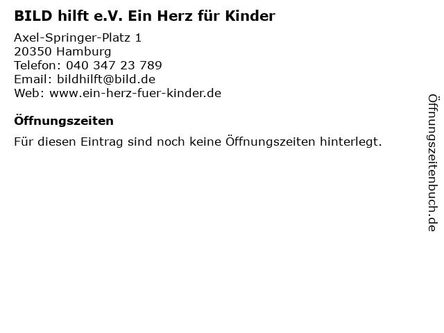 BILD hilft e.V. Ein Herz für Kinder in Hamburg: Adresse und Öffnungszeiten